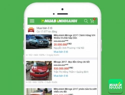 Giá xe Mitsubishi Mirage trên mạng xã hội MuaBanNhanh