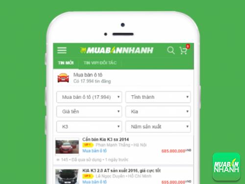 Với tùy chọn thông tin cần mua Kia K3, bạn nhanh chóng chọn được mẫu Kia K3 tại Mua Bán Nhanh
