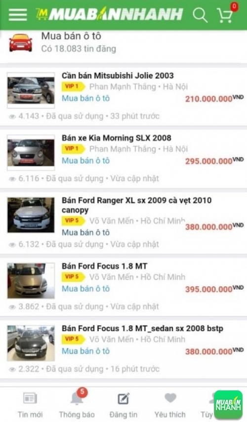 Danh sách xe ô tô giá rẻ tại Mua bán nhanh