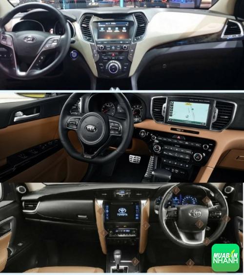 So sánh nội thất Toyota Fortuner, Hyundai Santafe và Kia Sorento 2017