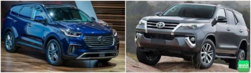So sánh Toyota Fortuner 2018 và Hyundai SantaFe 2018