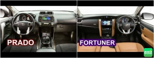 So sánh Toyota Prado 2018 và Toyota Fortuner 2018 về nội thất
